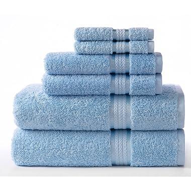 COTTON CRAFT Ultra Soft 6 Piece Towel Set Light Blue, Luxurious 100% Ringspun Cotton, Heavy Weight & Absorbent, Rayon Trim - 2 Oversized Large Bath Towel 30x54, 2 Hand Towel 16x28, 2 Wash Cloth 12x12