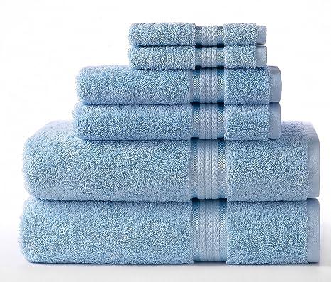 Cotton Craft–Juego de 6 toallas ultra suaves, 100
