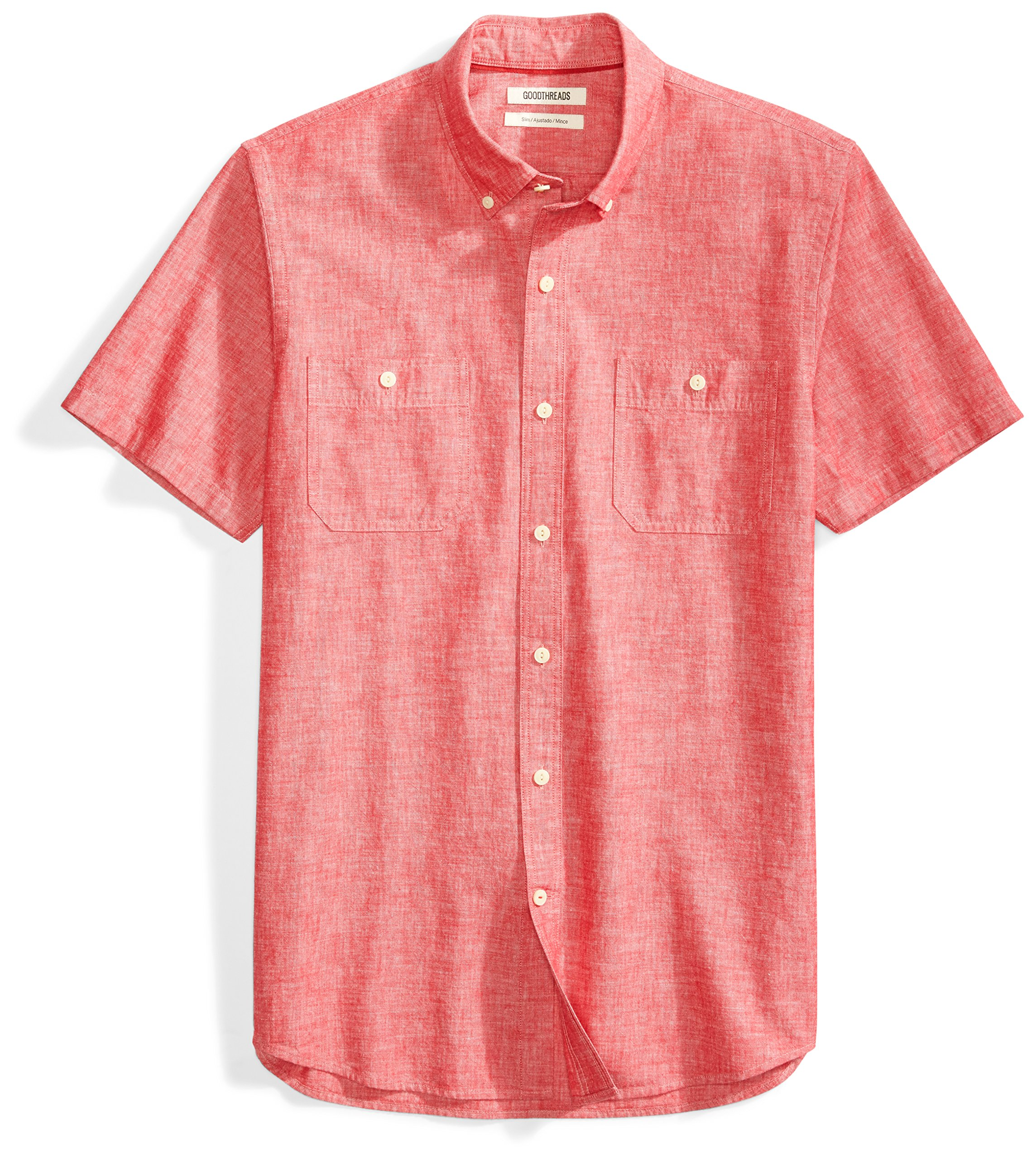 Goodthreads Men's Slim-Fit Short-Sleeve Chambray Shirt, Red, Large