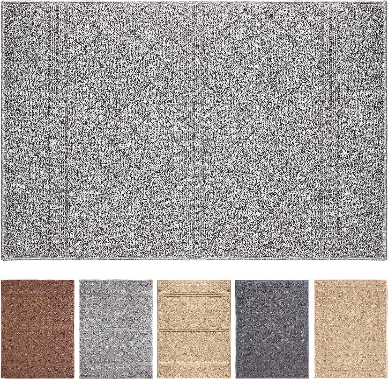 """Indoor Doormat 20""""x 31.5"""" Absorbent Front Door Mat Rubber Backing Non Slip Door Mats Inside Dirt Trapper Mats Entrance Front Door Rug Shoes Mat Machine Washable Carpet (Grey)"""