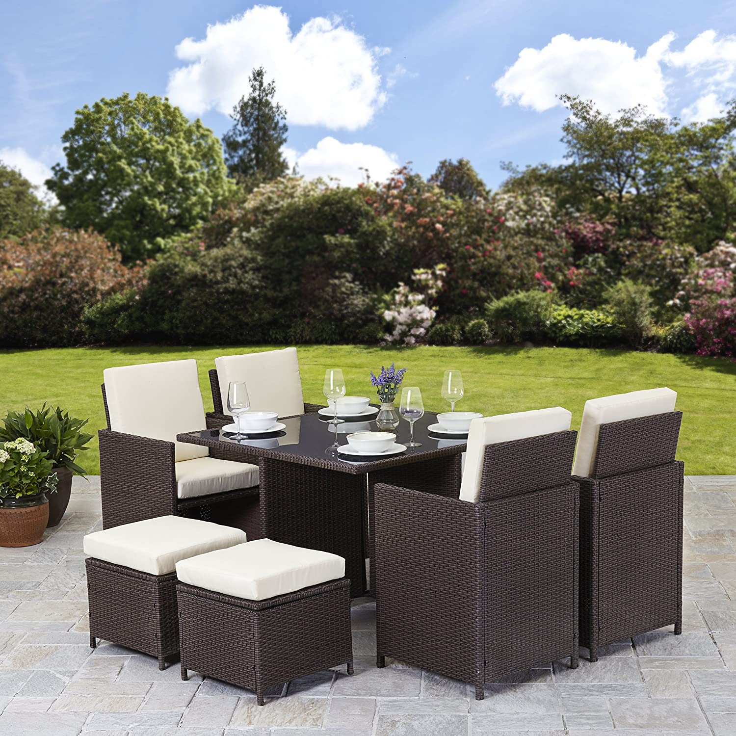 Good Rattan Cube Garden Furniture Set 8 Seater Outdoor Wicker 9pcs With Parasol  (Brown): Amazon.co.uk: Garden U0026 Outdoors Part 21