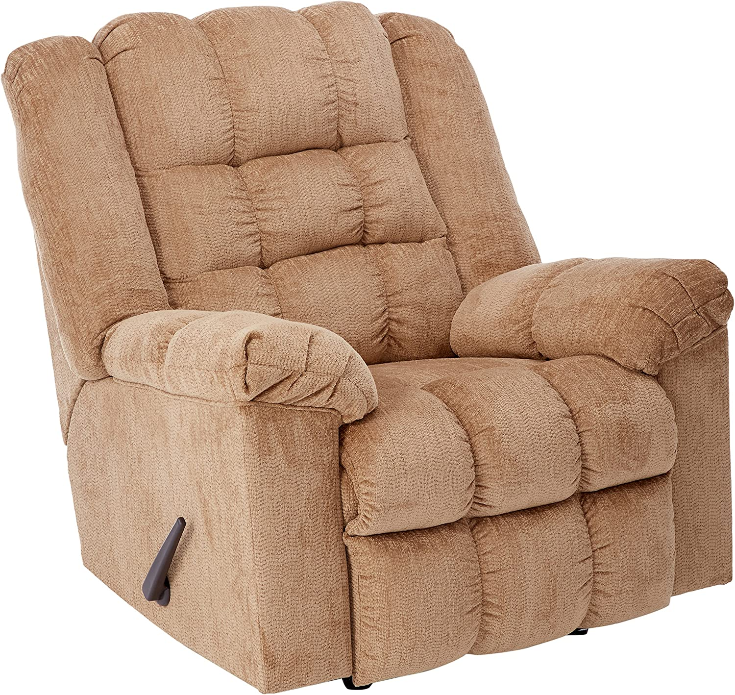 Signature Design by Ashley - Ludden Contemporary Rocker Recliner - One-Pull Reclining - Tan