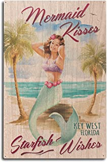 product image for Lantern Press Key West, Florida - Mermaid Kisses and Starfish Wishes - Watercolor (10x15 Wood Wall Sign, Wall Decor Ready to Hang)