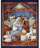 Good Will To All Nativity 36in Panel Multi Fabric