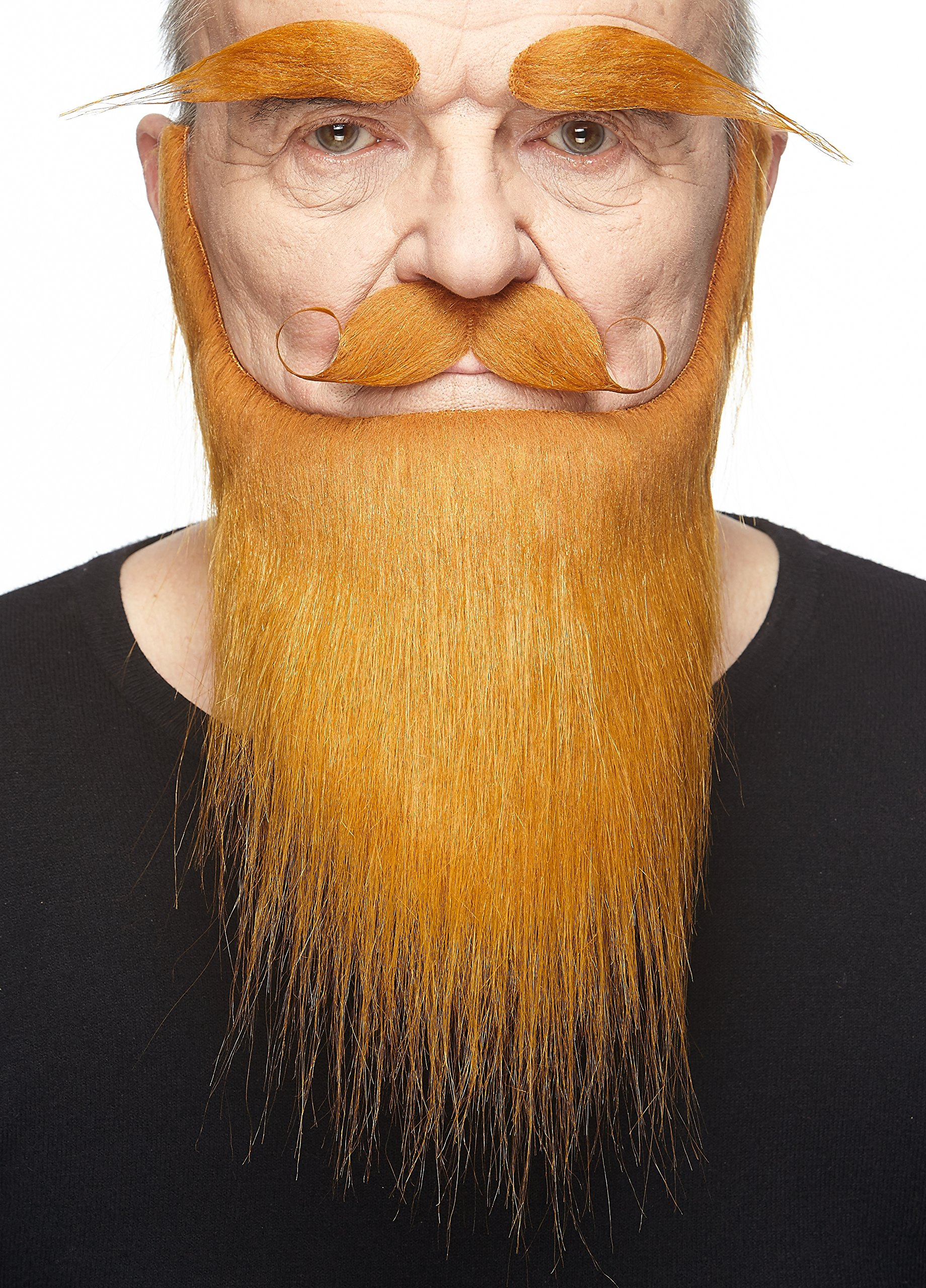 Mustaches Self Adhesive, Novelty, Fake Medieval King Beard, and Eyebrows, Ginger Color