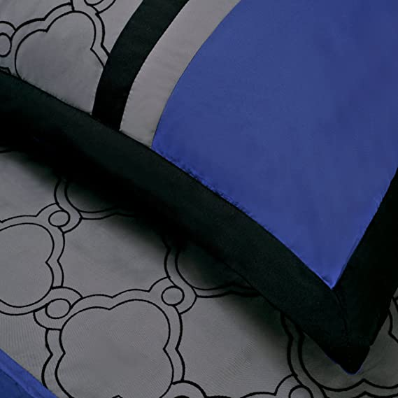 Superior Maxfield 8 Piece Embroidered Comforter Set Blue King MAXFIELD 8PC KGBL