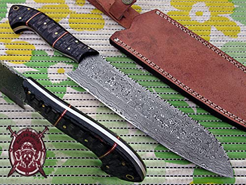 Chef Knife Damascus Steel Blade Black Doller Sheet Dango File Work Handle with Horizontal Leather Sheath