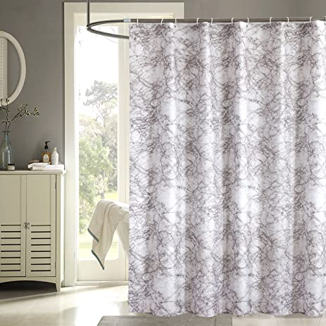 Uphome Modern Trend Style Tan Brown Marble Pattern Bathroom Shower Curtain