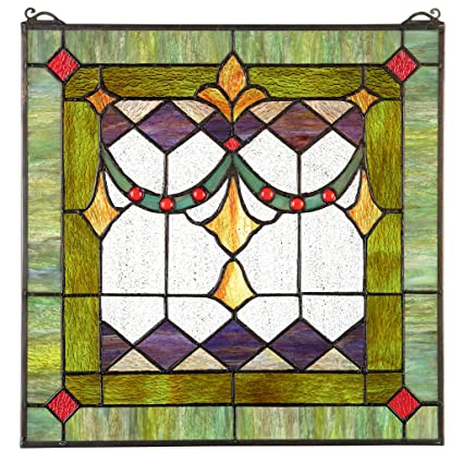 Design Toscano Victorian Swag Tiffany Style Stained Glass Window Multicolor