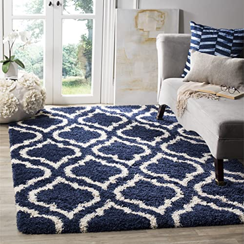 Safavieh Hudson Shag Collection SGH284C Navy and Ivory Moroccan Geometric Area Rug 3 x 5