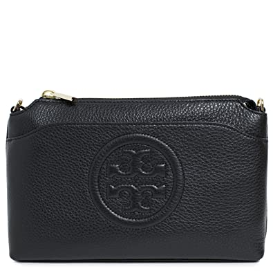 62026c773d1 Tory Burch Bag Bombe Chain Crossbody TB Logo Leather (Black)  Handbags   Amazon.com