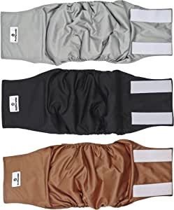 Pet Parents Premium Washable Dog Belly Bands (3pack) of Male Dog Diapers, Dog Marking Male Dog Wraps, High Absorbing Belly Band for Male Dogs
