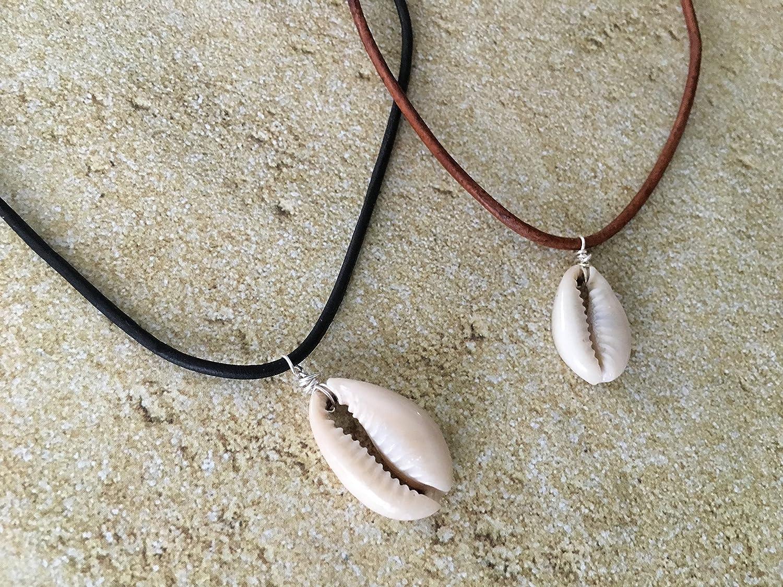 Tropical Cowrie Seashell Leather Choker