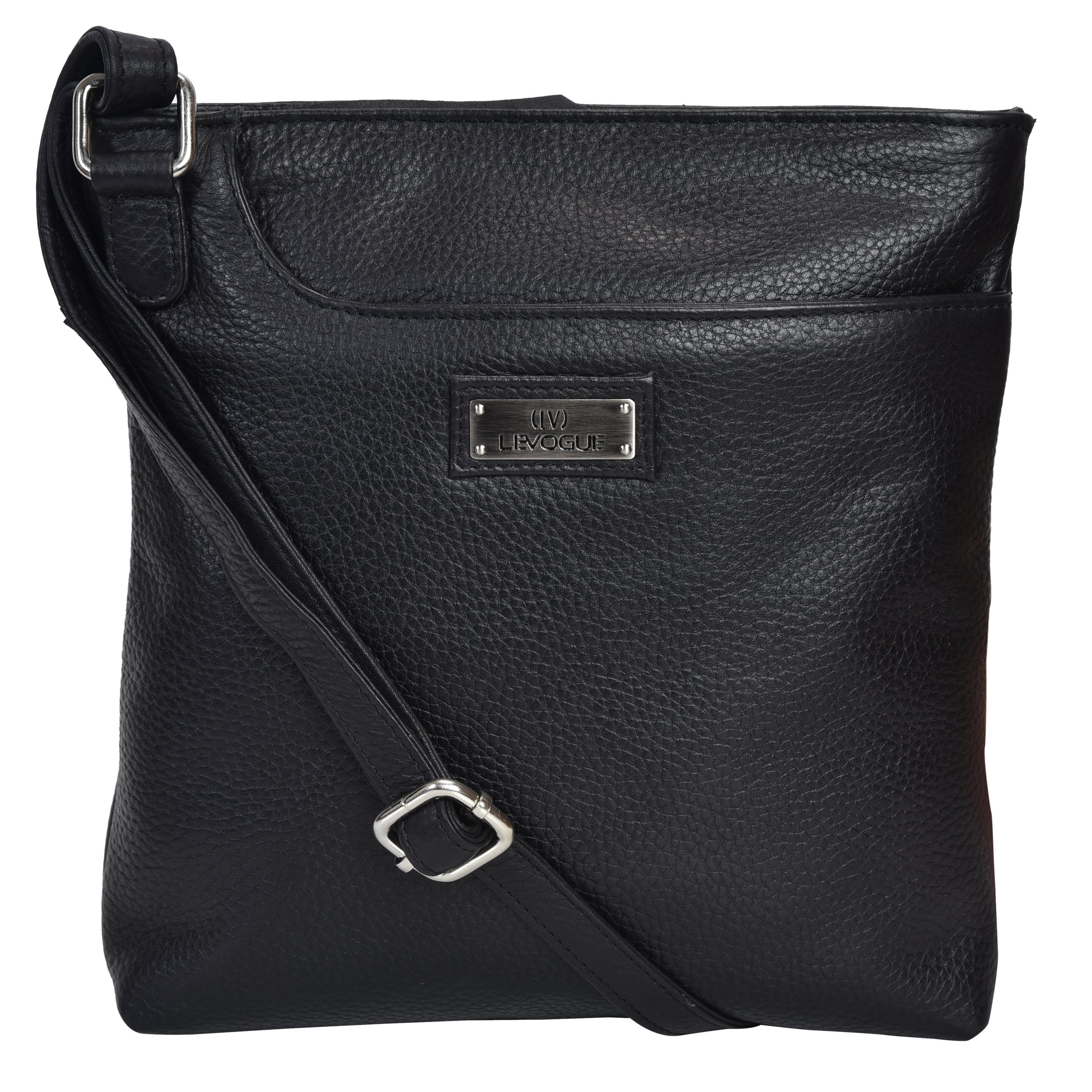 Genuine Leather Slim Womens Crossbody - Over the shoulder bag for Women Handmade by LEVOGUE (Black Floater)