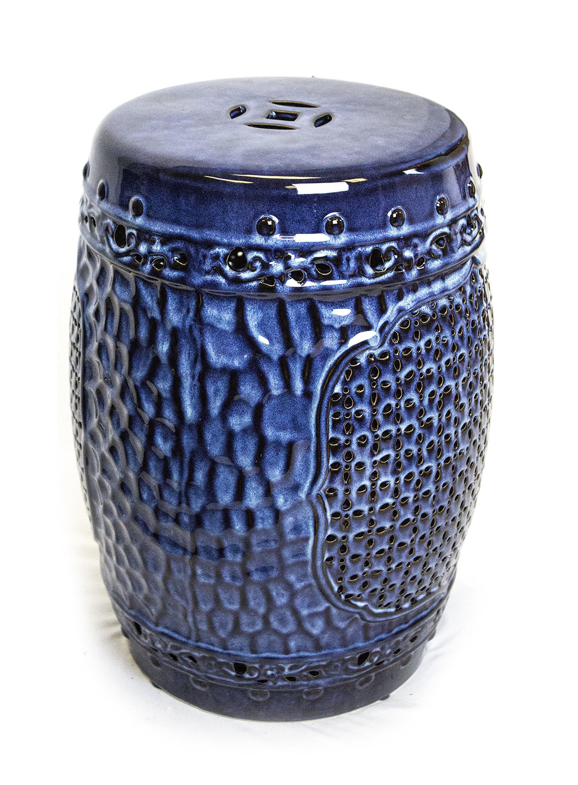 Sagebrook Home FC10456-01 Pierced Garden Stool Reactive Blue Ceramic, 13.75 x 13.75 x 17.5 Inches