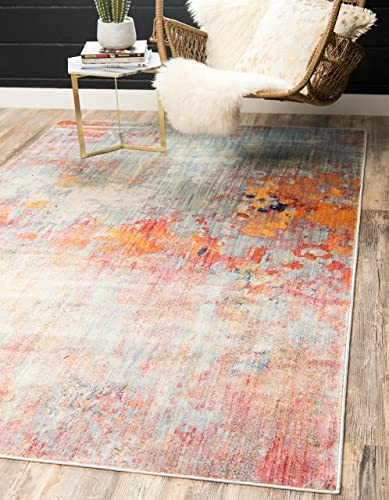 Unique Loom Helios Collection Modern Vintage Over-Dyed Multi Area Rug 8' 0 x 10' 0