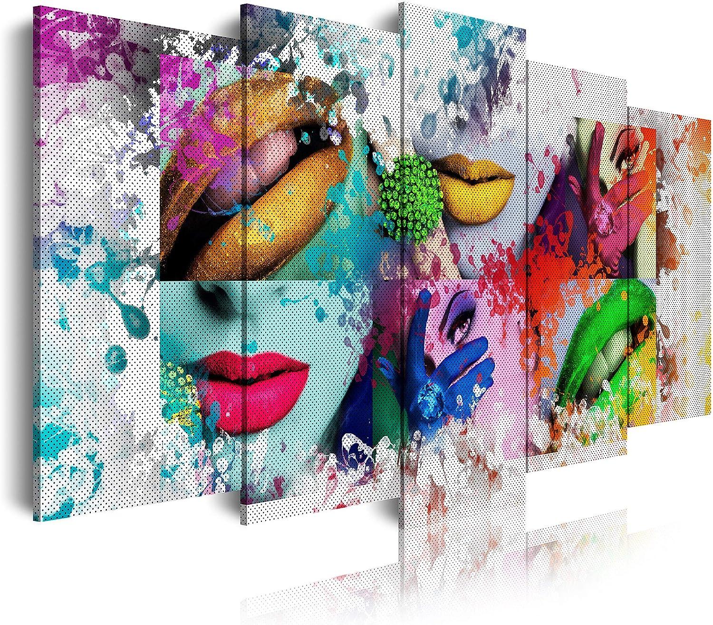 DekoArte - Cuadros Modernos Impresión de Imagen Artística Digitalizada   Lienzo Decorativo Para Tu Salón o Dormitorio   Estilo Pop Art Mujer Labios Color Blanco Verde Rojo Azul   5 Piezas 150 x 80 cm