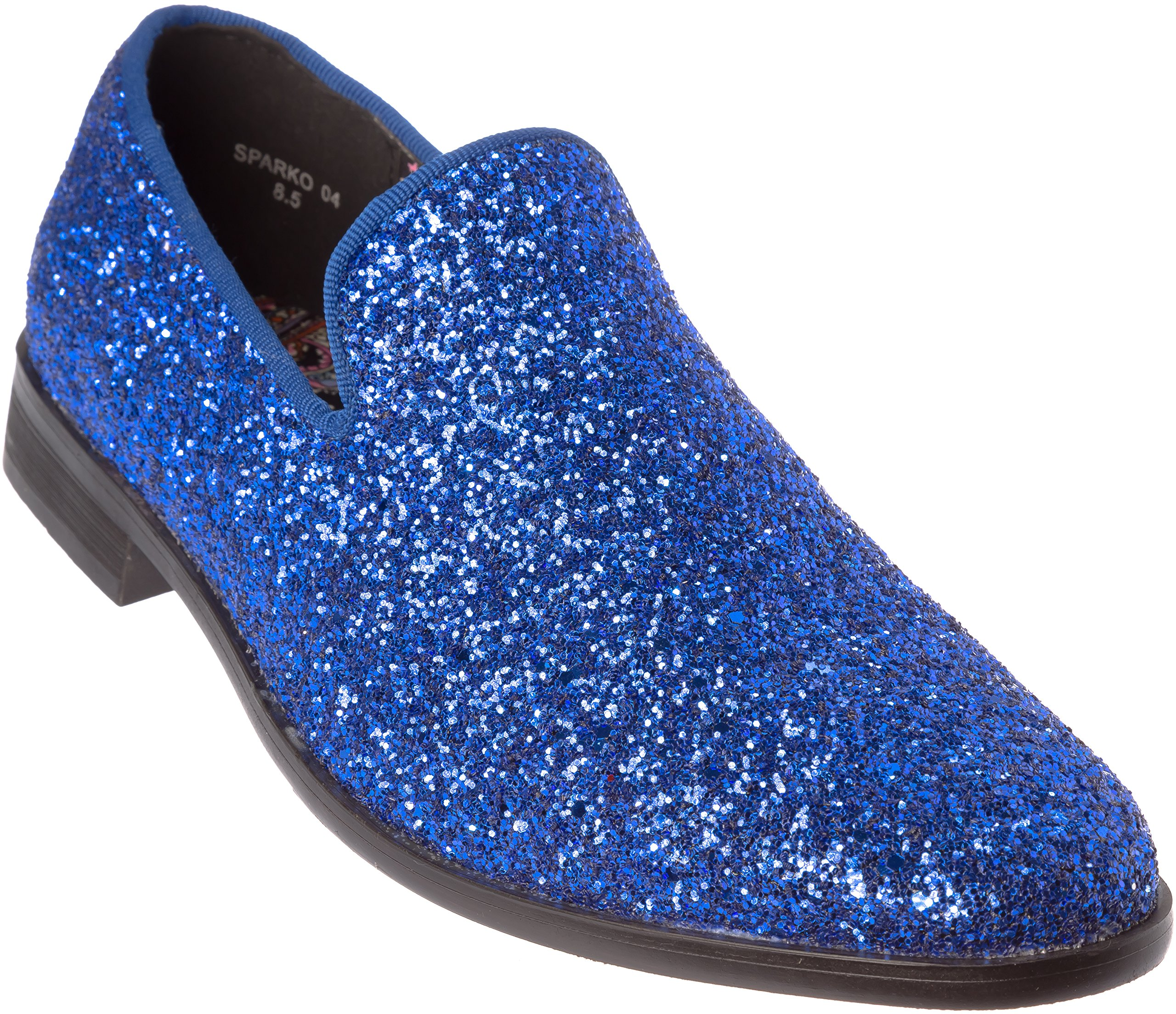 Alberto Fellini Mens Loafer-Fashion Slip-On Sparkling-Glitter Royal Blue Dress-Shoes Size 13