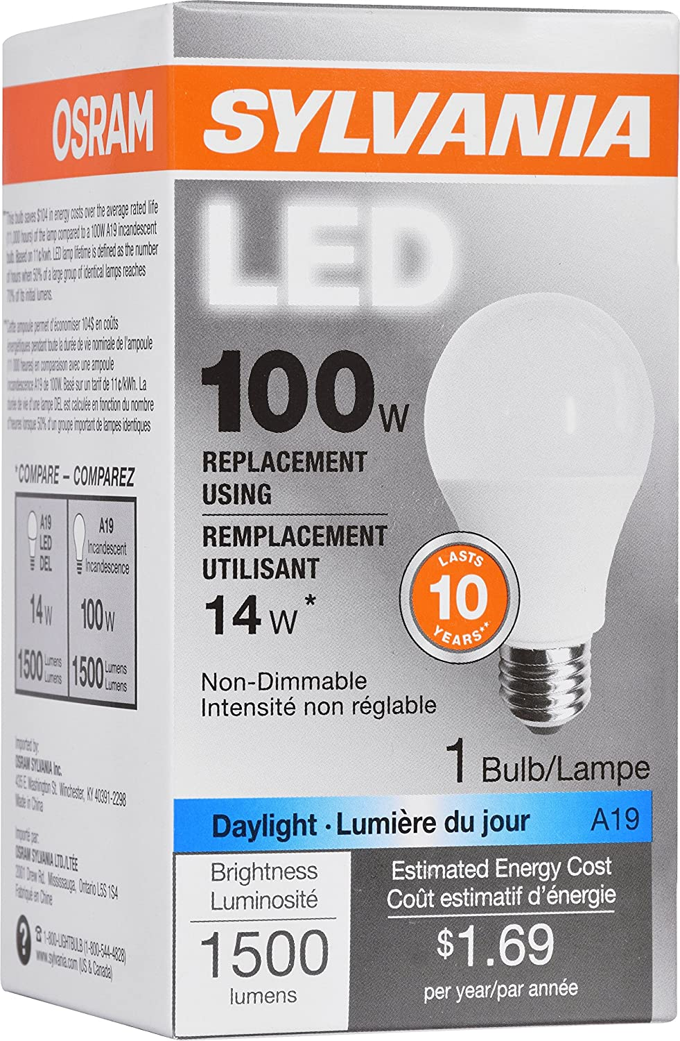 Sylvania General Lighting 79294 Sylvania Non Dimmable Led Light Bulb 14 W 120 V 1500 Lumens 5000 K Cri 80 2 3 8 In Dia X 4 29 In L Replacement For 100 Watt Daylight Amazon Com