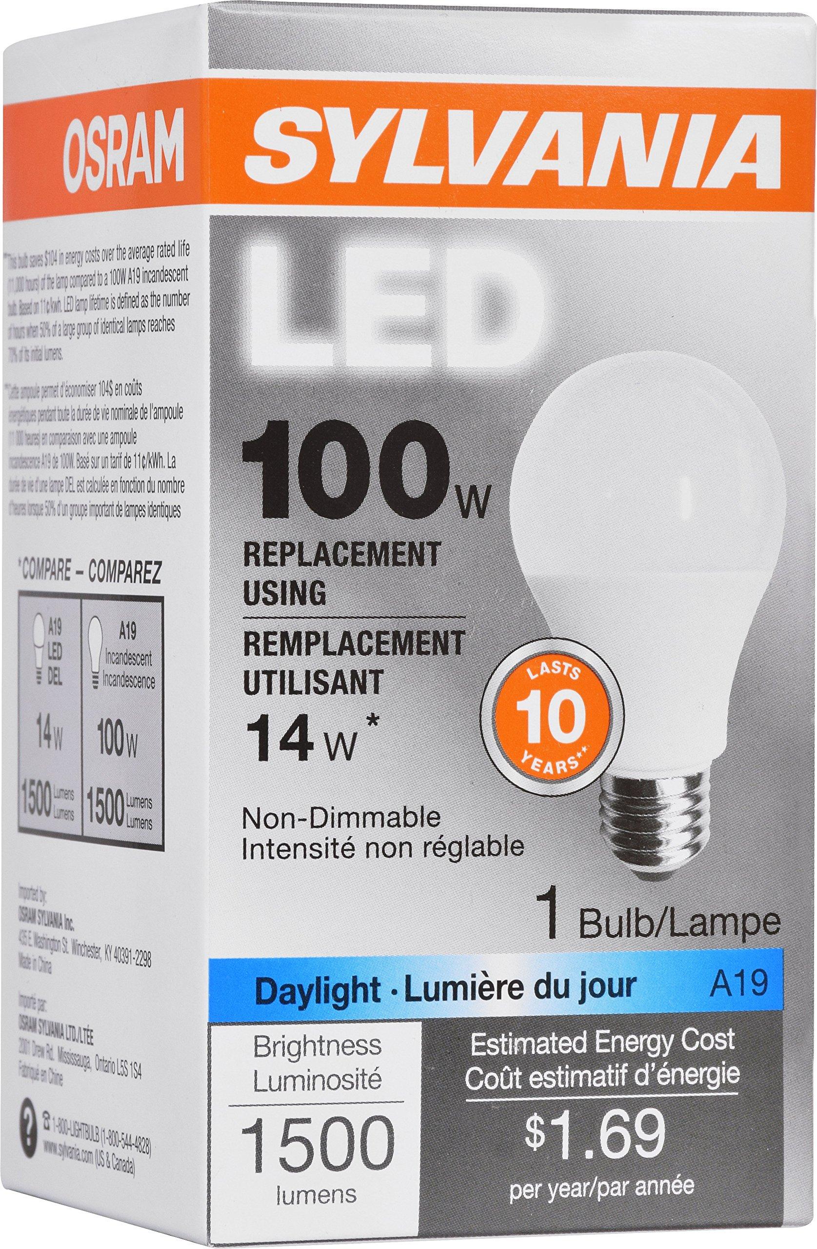 Led Daylight Bulb: SYLVANIA, 100W Equivalent, LED Light Bulb, A19 Lamp, 1