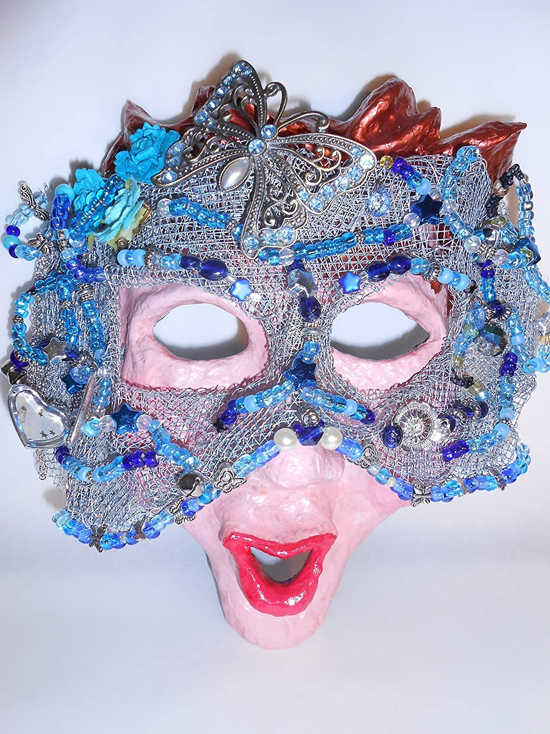 Butterfly in Blue - Full Sized Mixed Media Mask Ready for Display