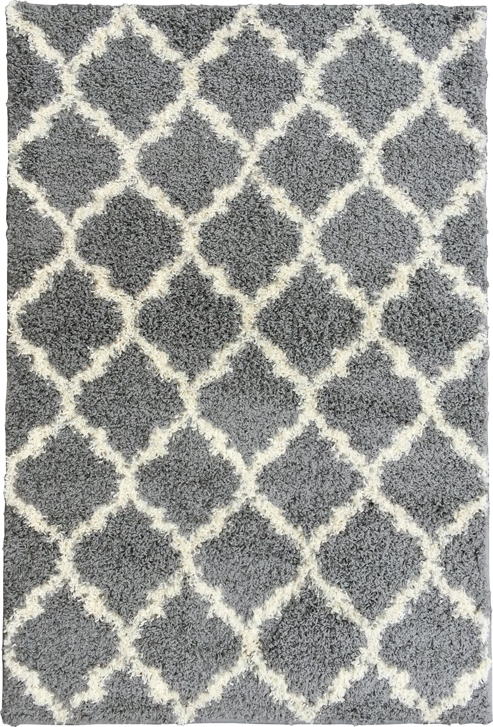 Ottomanson Ultimate Shaggy Collection Moroccan Trellis Design Shag Rug Contemporary Bedroom and  Living room Soft Shag Rugs, Grey, 7'10'' L x 9'10'' W by Ottomanson