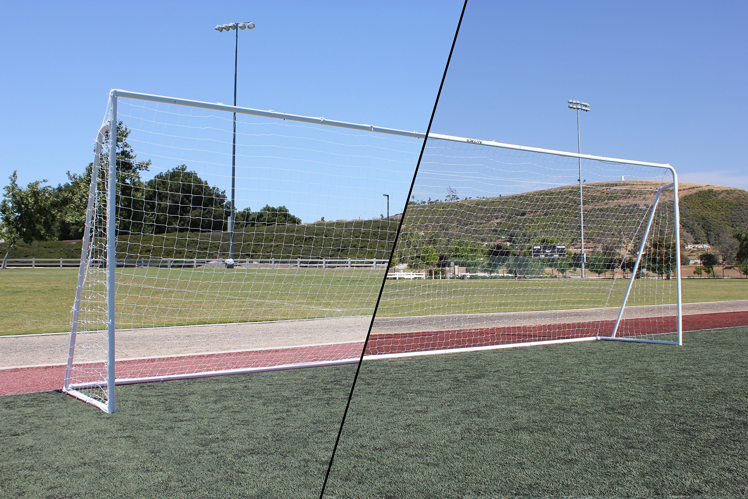 G3Elite Value 24x8 Regulation Soccer Goal (Discounted Less Than Perfect Item), (1) Net, Strongest Portable Steel Post Design, 8'x24'x1'x4½'