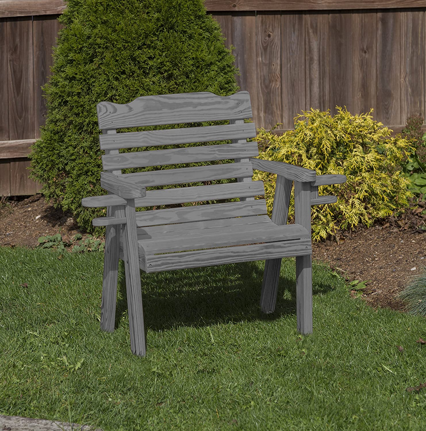 Amish Heavy Duty 800 Lb Classic Park Style Pressure Treated Garden Patio Outdoor Bench Chair 2 FEET with Cup Holders Grey-Made in USA