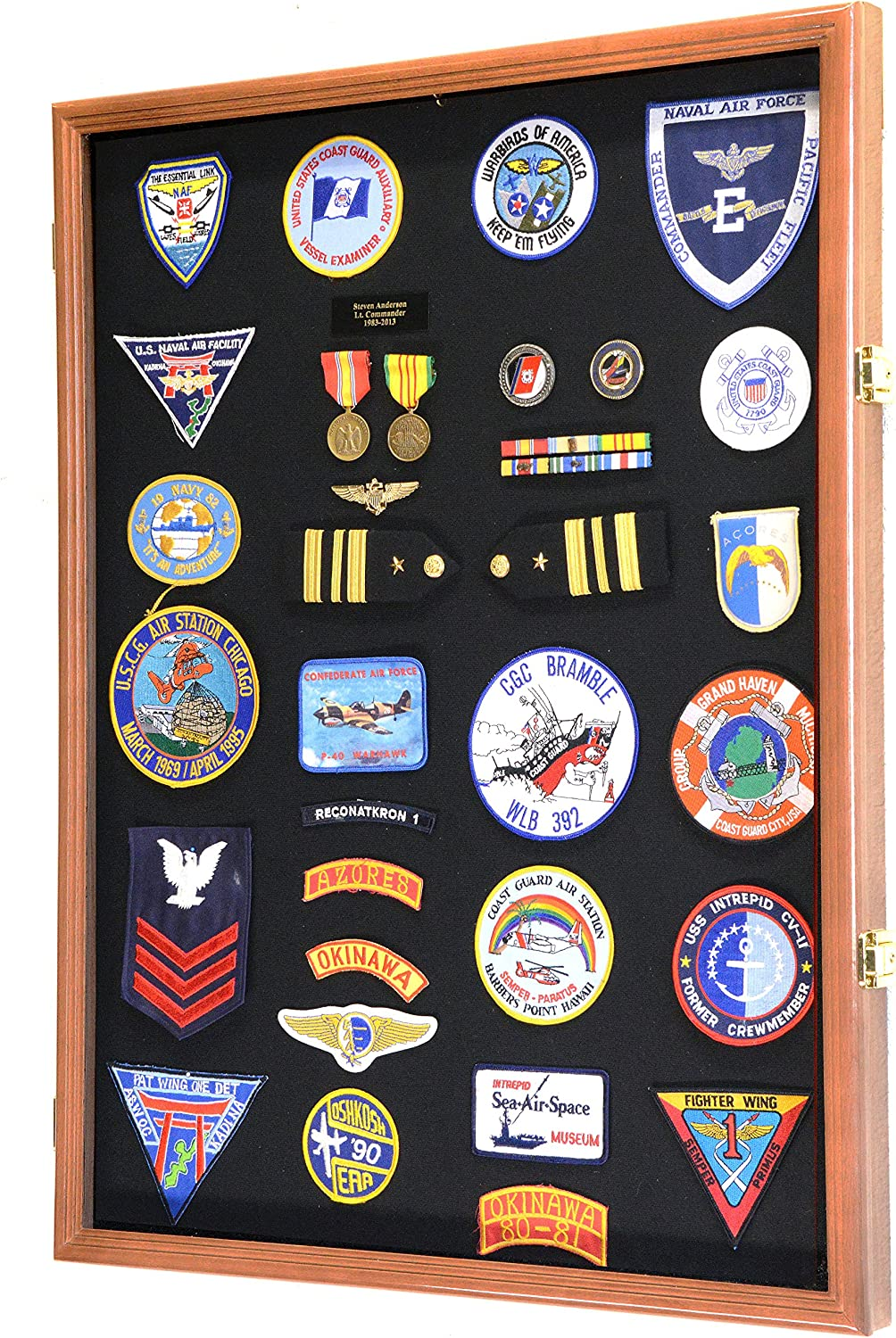 XL Military Medals/Pin/Patches/Badges/Ribbons/Insignia/Flag Display Case Cabinet Shadowbox (Walnut Wood Finish)