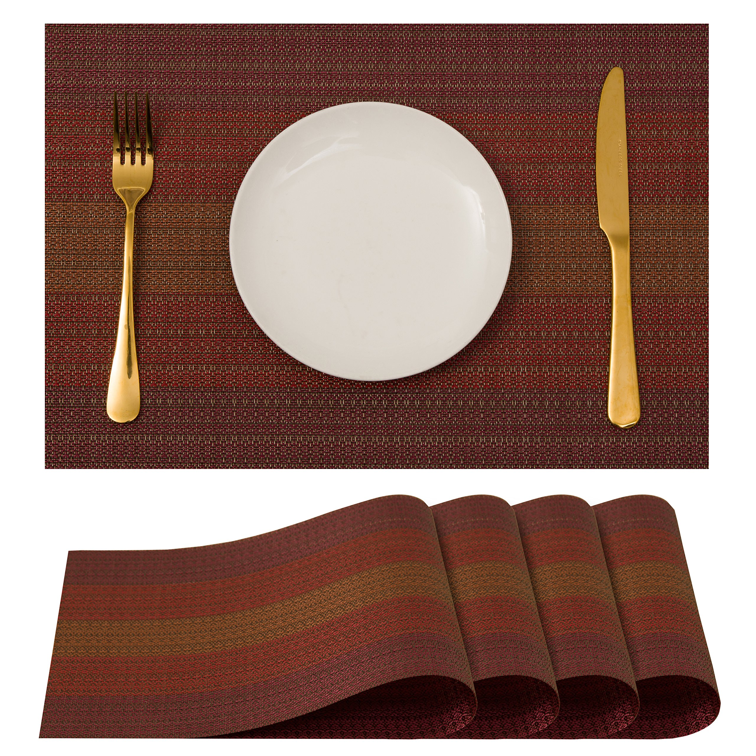 Plain Jane Placemats, Table Mats Non-Slip Washable Place Mats, Heat Resistant Kitchen Tablemats for Dining Table, Placemat Set of 4, Red.