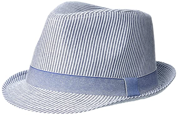 ebd33170 Flap Happy Boys' Baby UPF 50+ Fedora Hat, Chambray Stripe Seersucker Medium