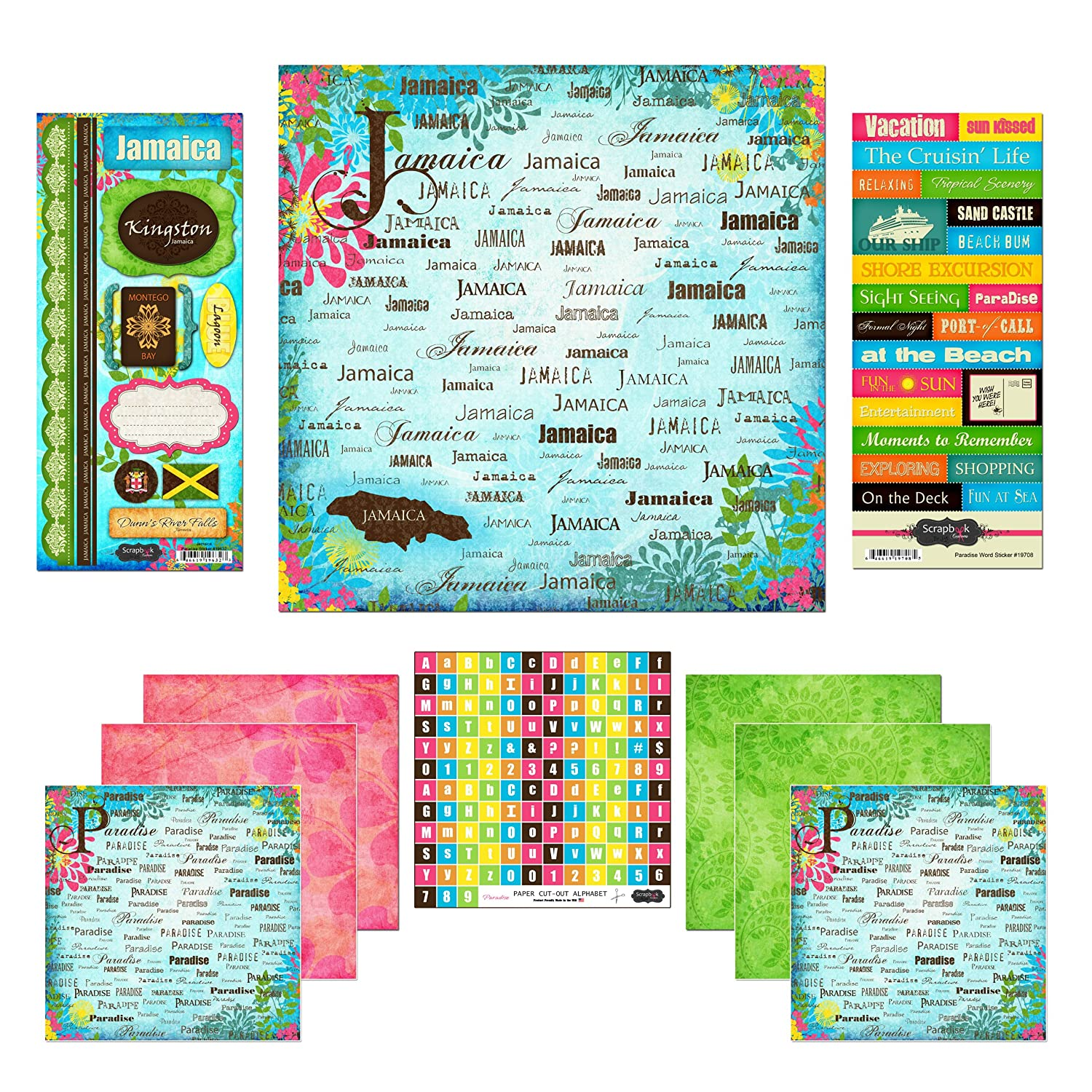 Scrapbook Customs Themed Paper and Stickers Scrapbook Kit, Jamaica Paradise, 12 x 12 12 x 12 Inc. 17469