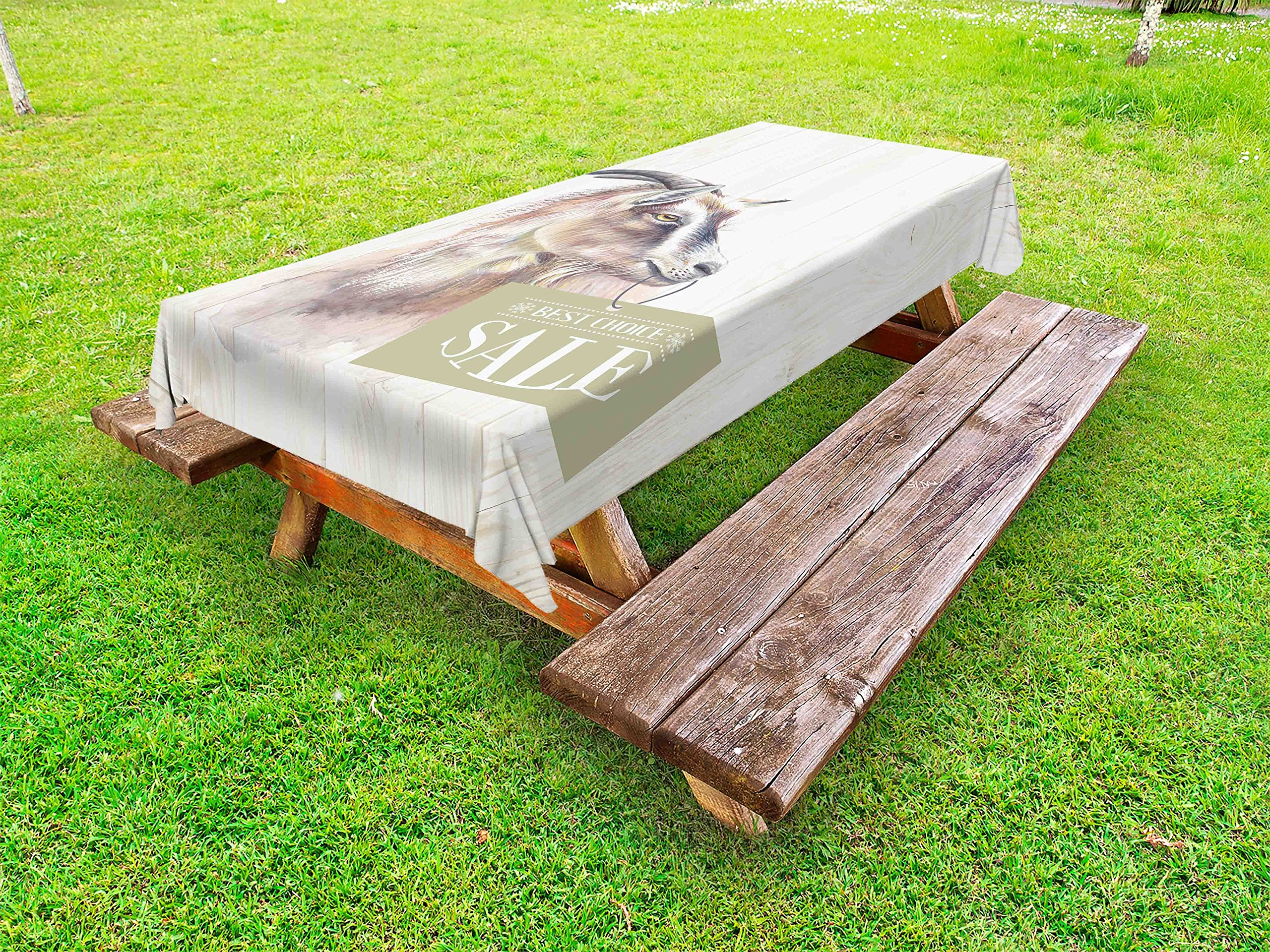 Lunarable Goat Outdoor Tablecloth, Farm Animal Portrait on Wooden Board Backdrop Domesticated Furry Mammal Vintage, Decorative Washable Picnic Table Cloth, 58 X 104 inches, Ivory Brown Black
