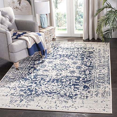 Safavieh Madison Collection MAD603D Cream and Navy Distressed Medallion Area Rug 3 x 5