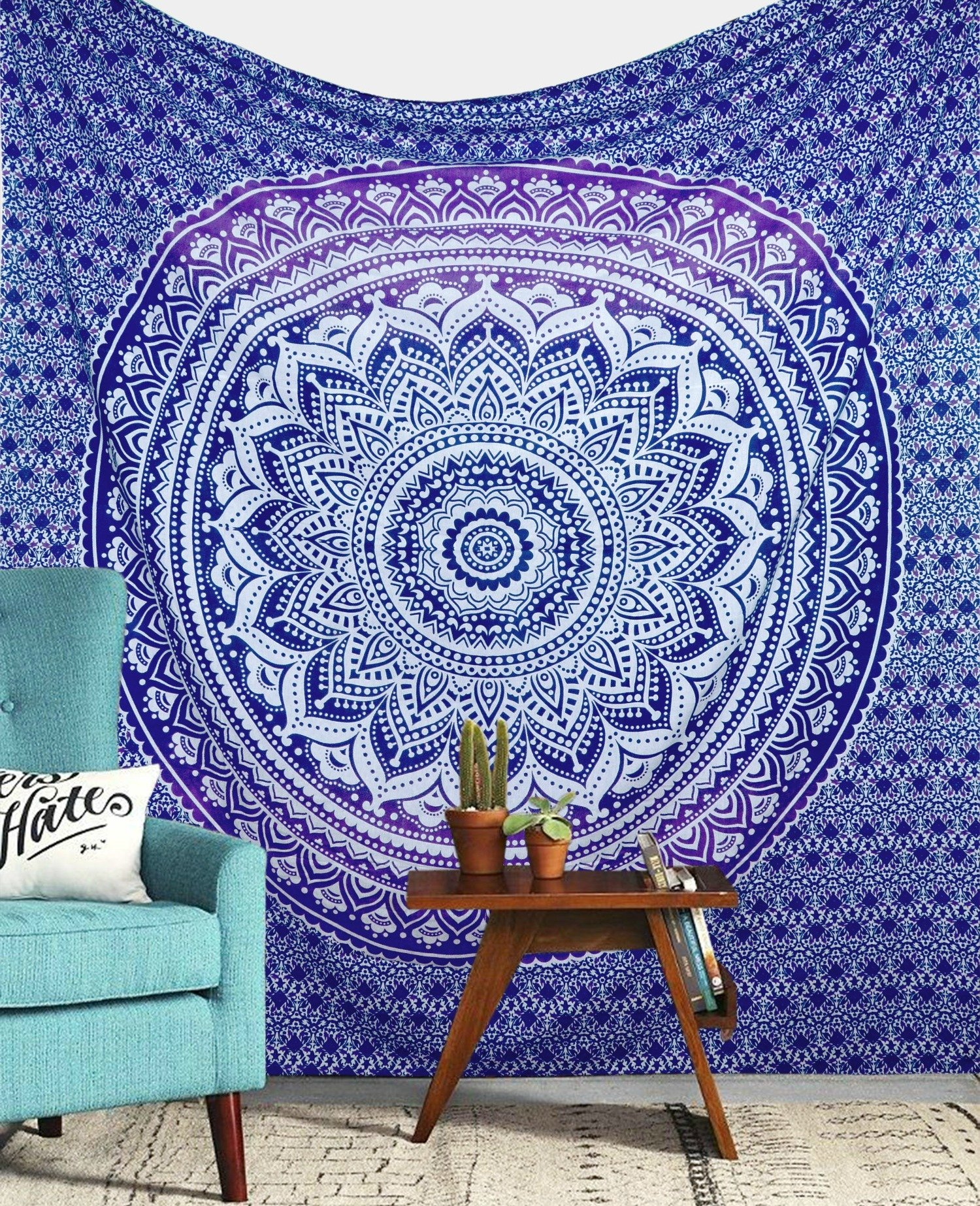 Purple Ombre Tapestry Wall hanging College Dorm Tapestry Mandala Tapestry Dorm Decor Indian Hippie Tapestry Bohemian Bedspread Bedding Beach Tapestry Decor by Jaipur Handloom