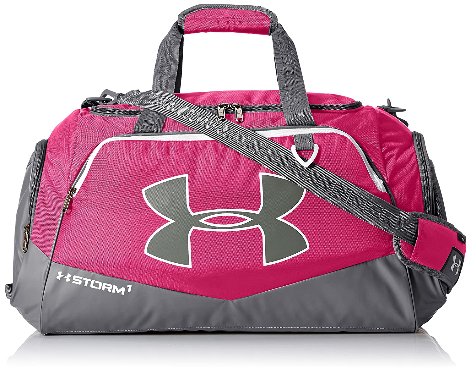 d4d36c77928 Amazon.com   Under Armour Team Storm Undeniable Medium Duffle, Tropic Pink  (654) Silver, One Size   Sports   Outdoors