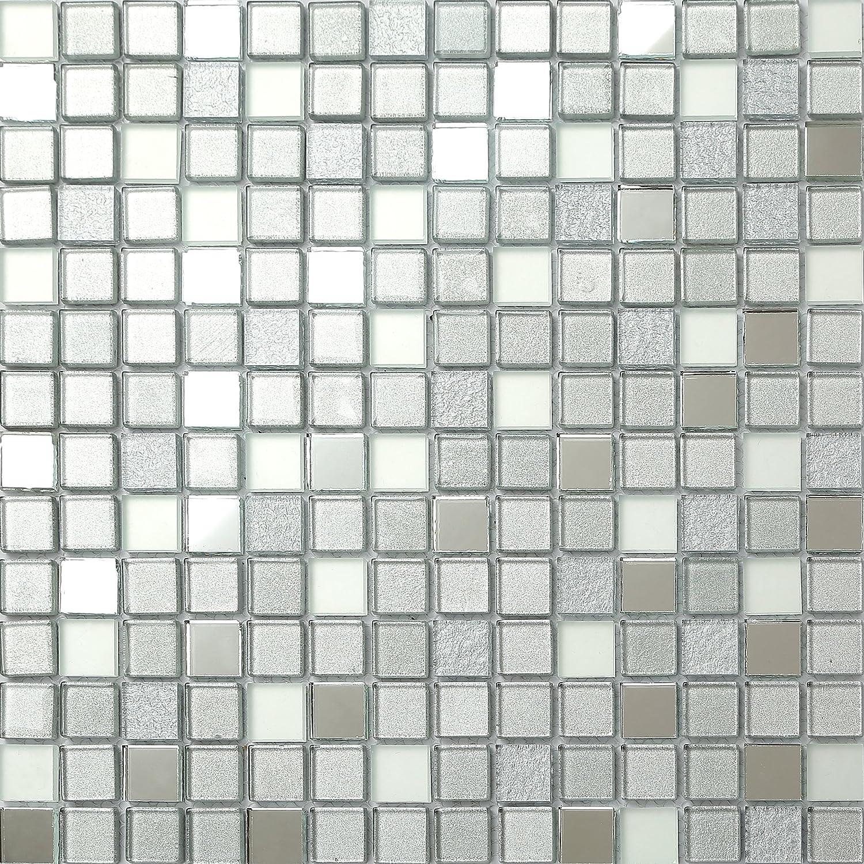GTDE MT0046 Carreaux de verre mosaïque 30cm x 30cm Argenté mat, miroir et paillettes