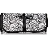 "8"" x 11"" Hanging Travel Jewelry & Accessories Organizer Roll Bag (Black & White Paisley Print Exterior & Blue Interior)"