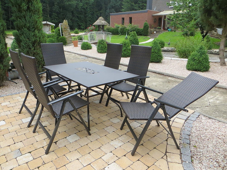 7-teilige Luxus Aluminium Polyrattan Gartenmöbelgruppe Venezia Algiri in braun Klappsessel und Designertisch von Mandalika Garden
