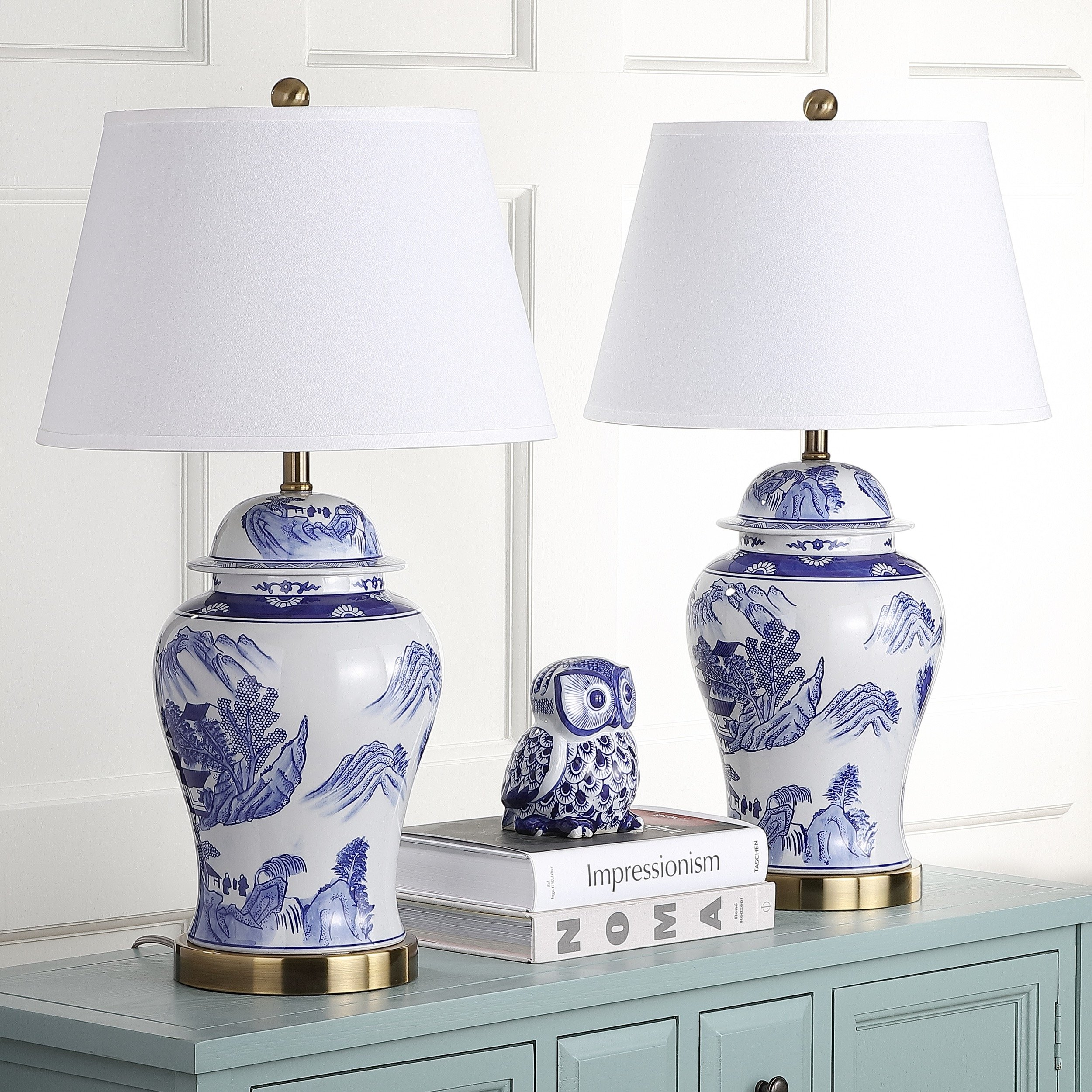 Safavieh Lighting Collection Shanghai Ginger Jar Blue and White 29-inch Table Lamp (Set of 2) by Safavieh