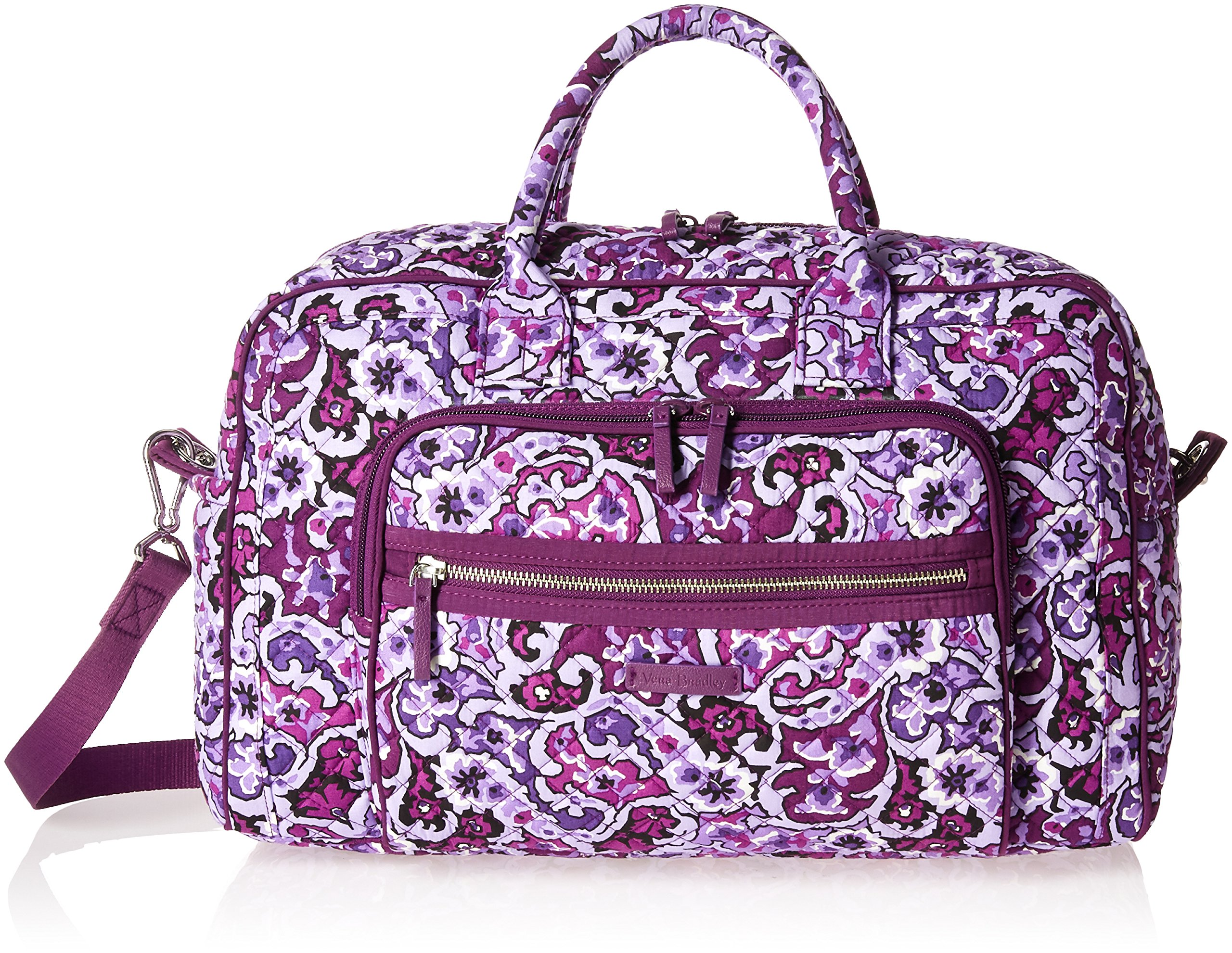 Vera Bradley Women's Iconic Compact Weekender Travel Bag-Signature, Lilac Paisley