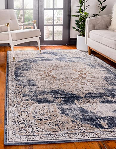 Unique Loom Chateau Collection Distressed Vintage Traditional Textured Dark Blue Area Rug 9 0 x 12 0
