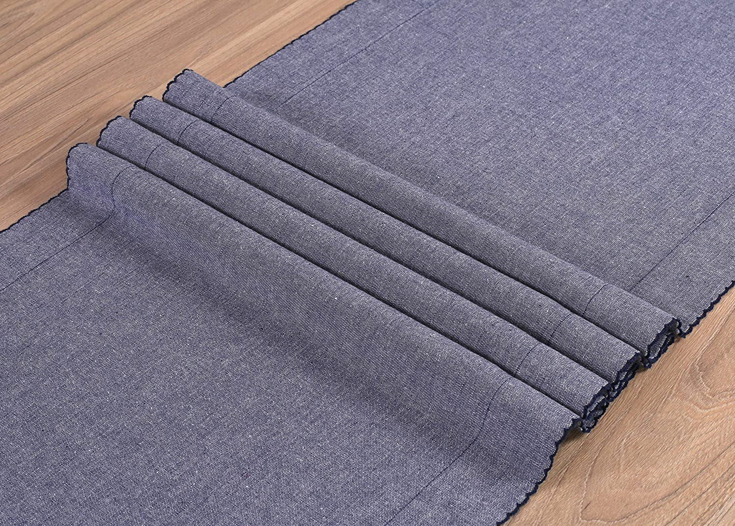 Table Runner 72inch,100/% Cotton Chambray Fabric with Picotted Decor at Edges,Decorative Table Runner,Farmhouse Table Runner,Rustic Bridal Shower Decor Table Runner,Wedding Table Runner-16x72 Charcoal