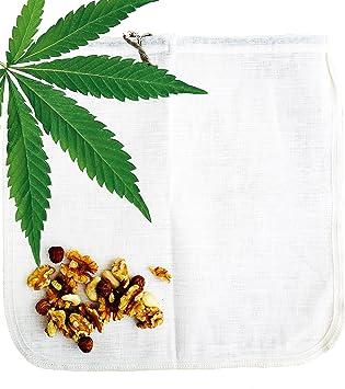 Cáñamo bolsa para leche vegetal Ecocasa - la alternativa ecológica por fabricar leche de almendras - zumos - yogur vegano - lavar quinoa | incluido ...