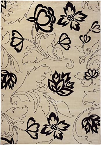 Rizzy Home Bay Side Collection Polypropylene Area Rug, 7 10 x 10 10 , Ivory Black Floral