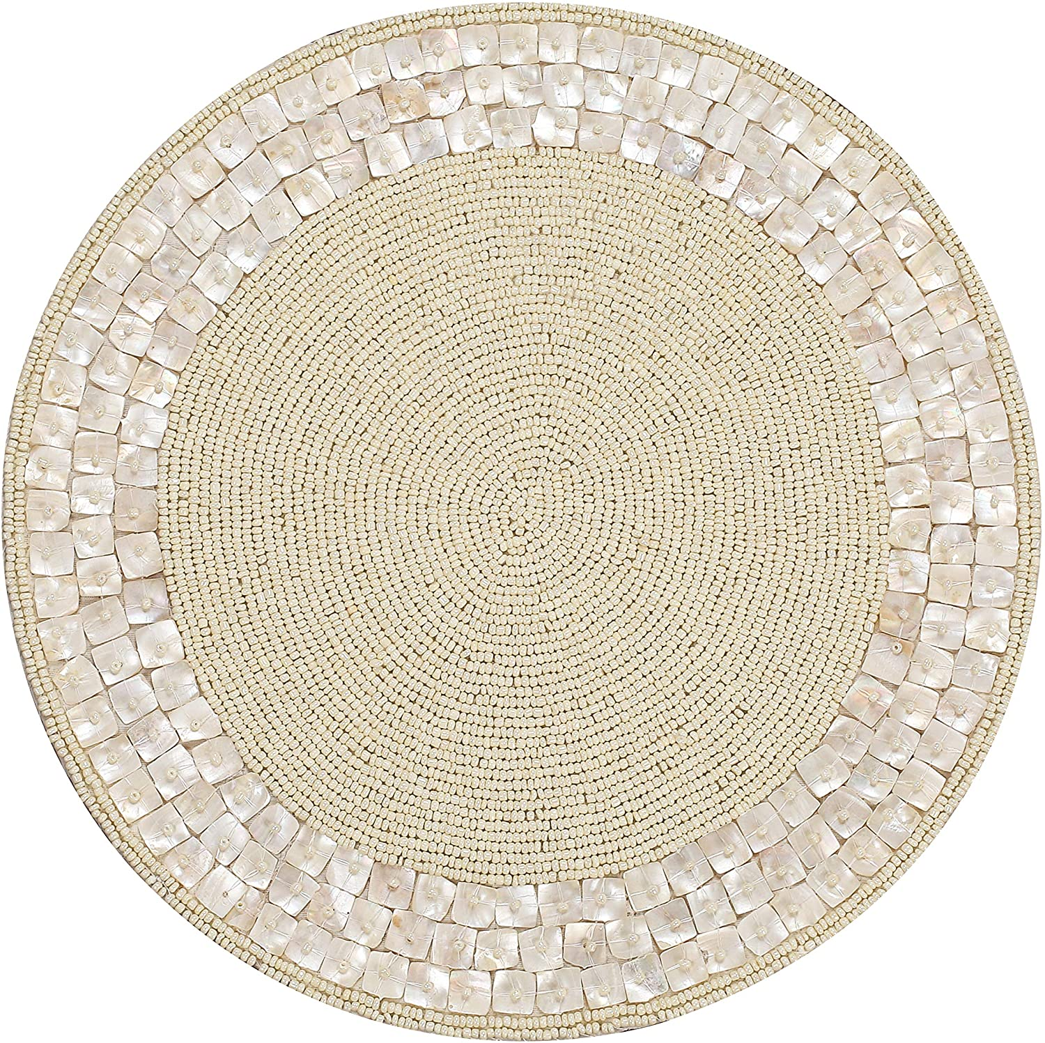 Beaded Placemats For Dining Table White Ivory Pack Of 1 Measure 13 Inches Beaded Placemats Round For Gathering Thanksgiving Occasional Decoration And Family Parties Celebrations Amazon Co Uk Kitchen Home