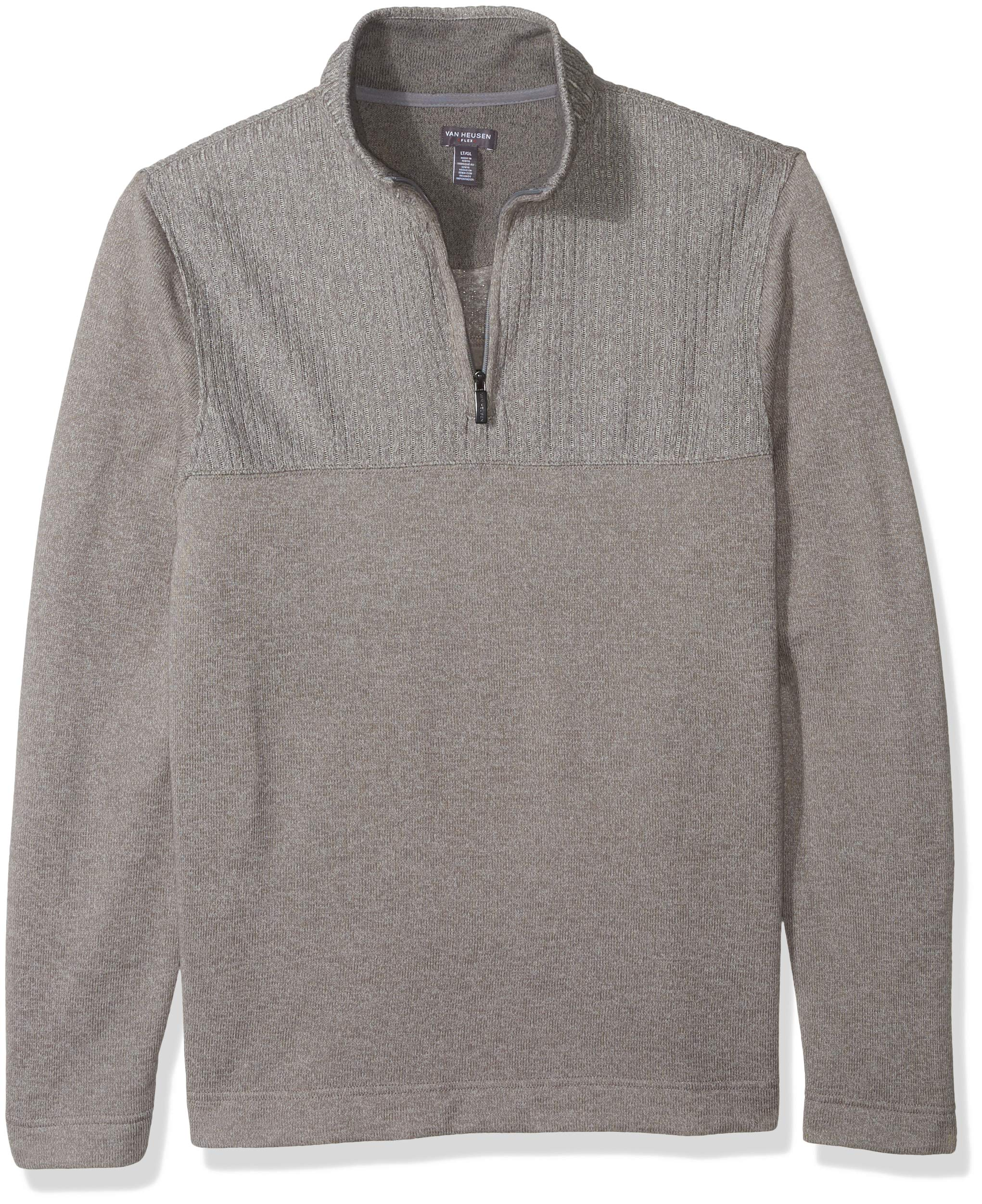 Van Heusen Men's Size Big and Tall Flex 1/4-zip Solid Sweater, grey Cumulus, X-Large Tall