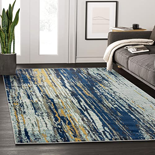 Abani Rugs Blue Yellow Painted Pattern Area Rug w/ Bold Design