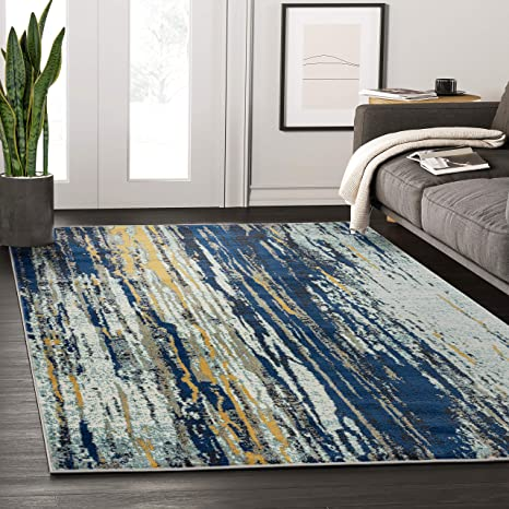 Abani Rugs Blue Yellow Painted Pattern Area Rug W Bold Design Abani Rugs Modern 3 X 5 Accent Rug Laguna Collection Kitchen Dining