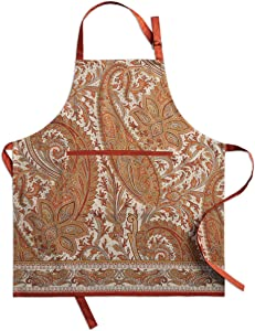 Maison d' Hermine Kashmir Paisley 100% Cotton Apron with an Adjustable Neck & Hidden Center Pocket, 27.50 - inch by 31.50 - inch